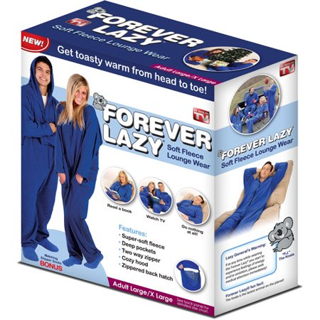 As Seen on TV Forever Lazy Footless Pajama Suit w/ Slipper Socks, Assorted Sizes, Blue