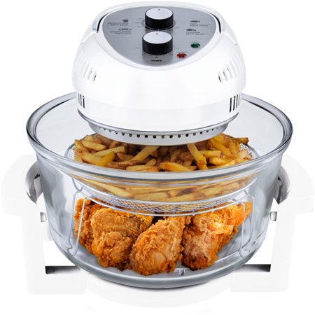 Big Boss 16 Quart 1300-Watt Oil-less Air Fryer & Tabletop Convection Oven, Easy Operation with Built In Timer, Includes 50 Recipe Cookbook, White, As Seen on TV
