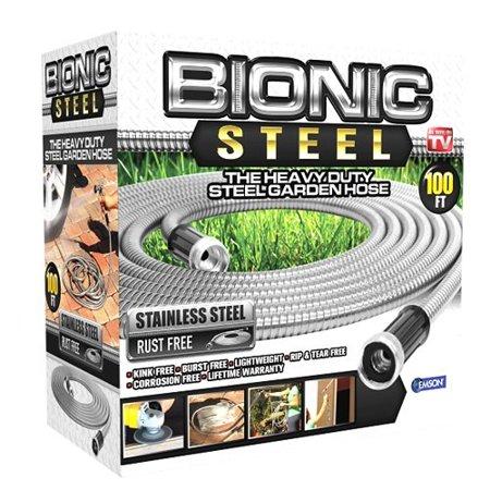 Bionic Steel Stainless Steel Super Durable Metal Garden Hose - Lightweight & Kink-Free, 100 ft- As Seen on TV