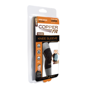 Copper Fit Tough Knee Sleeve, Copper Infused Compression Knee Sleeve, Large, 2 Packs, As Seen on TV