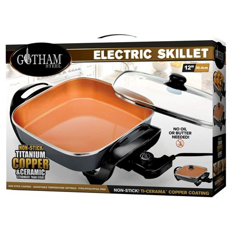 "Gotham Steel XL 12"" Copper Electric Skillet, with Nonstick Coating & Adjustable Heat Control, As Seen on TV!"