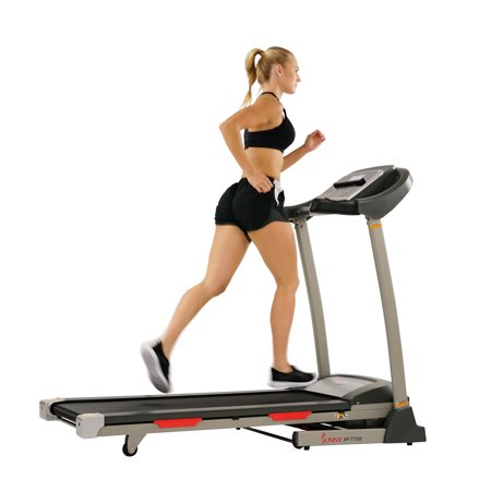 Sunny Health & Fitness Portable Treadmill with Auto Incline, LCD and Shock Absorber - SF-T7705