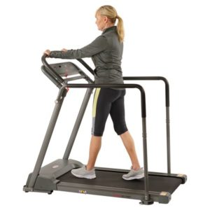 Sunny Health & Fitness Walking Treadmill with Low Deck, Handrails for Balance Support