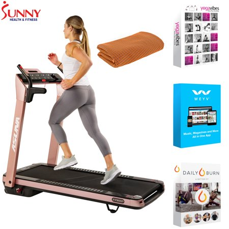 Sunny Health and Fitness ASUNA SpaceFlex Motorized Running Treadmill with Auto Incline Pink (7750P) with Tech Smart USA Fitness & Wellness Suite & Workout Cooling Towel Orange