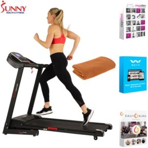 Sunny Health and Fitness Electric Treadmill with Auto Incline and USB Port (SF-T7861) with Tech Smart USA Fitness & Wellness Suite & Workout Cooling Towel Orange