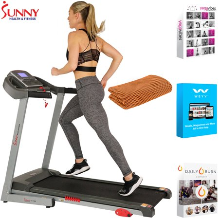 Sunny Health and Fitness Electric Treadmill with Manual Incline and USB Port (SF-T7860) with Tech Smart USA Fitness & Wellness Suite & Workout Cooling Towel Orange