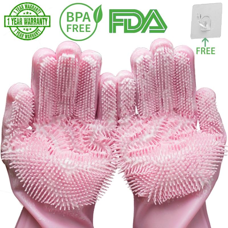 silicone dishwashing scrubber gloves 2
