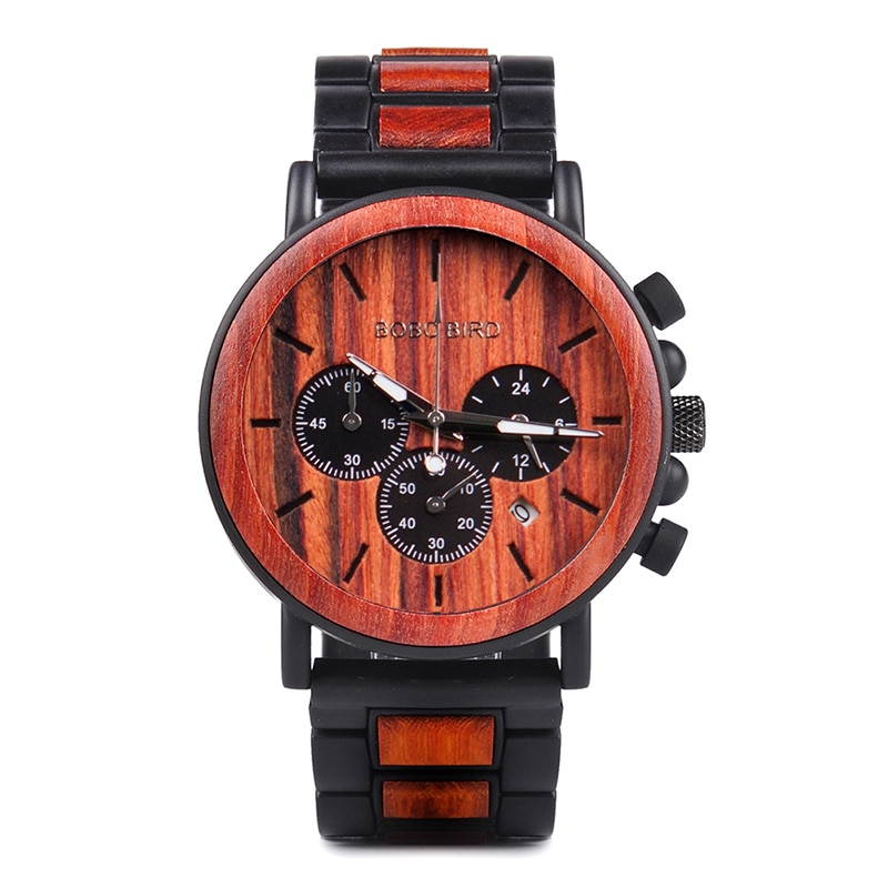 wooden watch for men stylish engraved with wooden gift box 5
