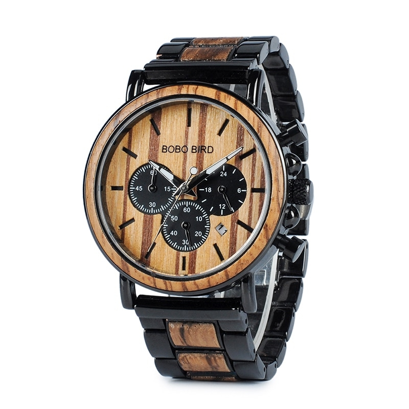 wooden watch for men stylish engraved with wooden gift box 2