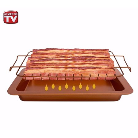 Gotham Steel Bacon Bonanza, 12-Slice Nonstick Copper 2-Piece Set, Includes Bacon Cooker and Drip Tray, As Seen on TV