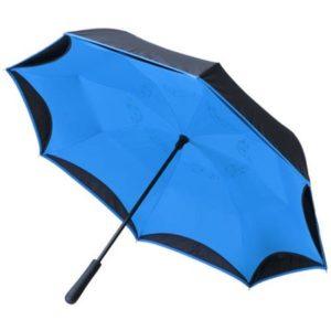 BetterBrella, Reverse Open Close Umbrella, Wind Proof Design (Black/Blue), As Seen on TV