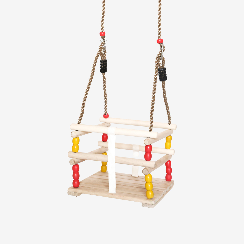wooden baby swing for babies and toddlers 1