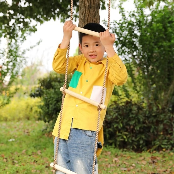 5 step climbing wooden rope ladder 8