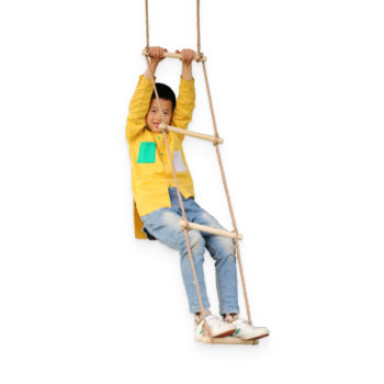 5 step climbing wooden rope ladder 5