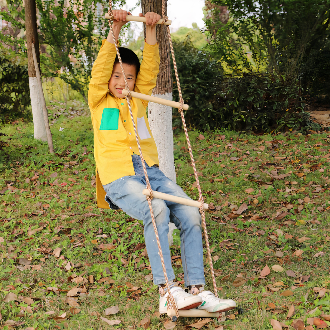 5 step climbing wooden rope ladder 9