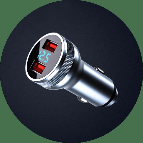 intelligent digital volt dual-usb charger port 4